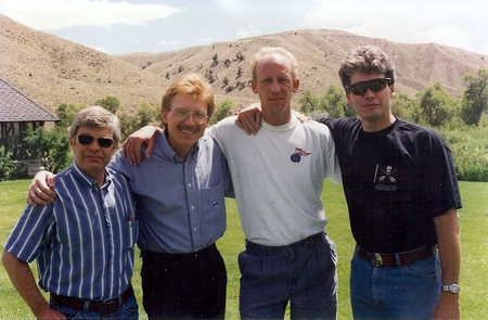 "Jim, Vance, Mike and Patrick on graduation day: Notice the lay of the land at Thunderhead Ranch....it is about 10,000 acres, more or less. It's so remote, cell phone won't work unless you climb up on what was called ""cell phone hill."
